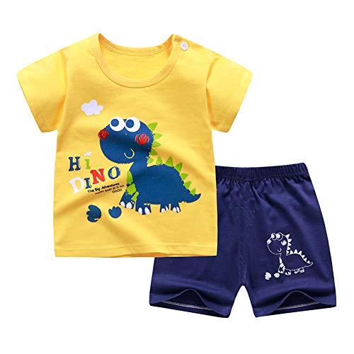 URMAGIC bebé niños niñas Verano Ropa Dibujos Animados Dinosaurio impresión Manga Corta Camisetas + Shorts Sets niños Verano Ropa de Dormir