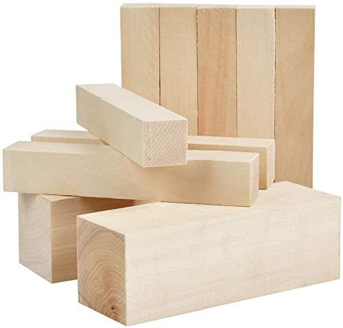 10 pcs Holzblöcke zum Schnitzen & Basteln 10-teiliges Set - 2 (15X5X5cm)&8 (15X2.5X2.5) cm Natürliches...