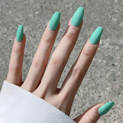 Fstrend 24pcs False Nails Matte Full Cover Medium Ballerina Coffin Natural Acrylic False Nails Punk Christmas Party Prom Clip On Nail For Women And Girls Mint Green Wantitall