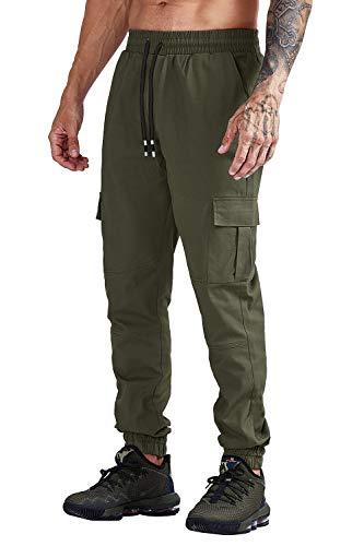 Cindeyar Herren Hosen Cargo Chino Stretch Slim fit Jeanshose Basic Jogger Sporthose Freizeithose (L, 105Grün)