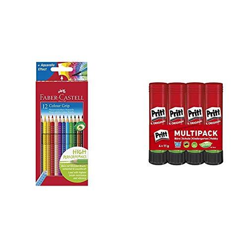 Faber-Castell 112412 - Buntstifte Colour Grip, 12er Kartonetui & Pritt Klebestift, sicherer und kinderfreundlicher Kleber für Kunst und Bastelarbeiten, starker Klebstoff für Schule & Bürobedarf