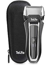 TeLife ひげそり 電動 メンズシェーバー 往復式 シェーバー 3枚刃 髭剃り 水洗い/お風呂剃り可 急速充電 電気シェーバー (ブラック)