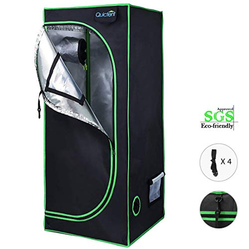Quictent SGS Approved Eco-Friendly 24'x24'x55' Reflective Mylar Hydroponic Grow Tent with Obeservation Window and Waterproof Floor Tray for Indoor Plant Growing 2'x2'
