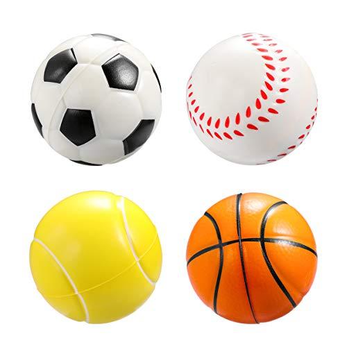 TOYANDONA 12 Stück Schaum Sportbälle Mini Fußball Basketball Baseball Tennis Stressball Entspannbare Bälle Partybevorzugung für Kinder Erwachsene (Gemischter Stil)