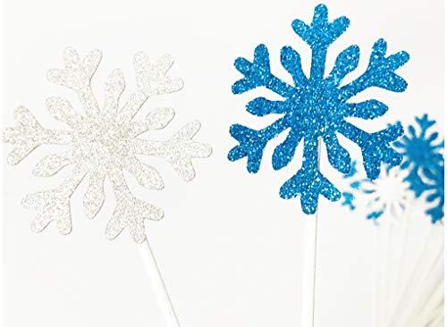 Lming 20 zählt Topper für Kuchen, Cupcake, EIS Dekoration Topper-Silberne und Blaue Schneeflocke