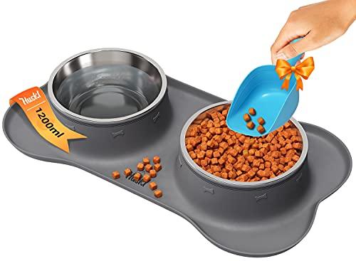 Unterlage für Fressnapf mit 2x1200ml Hundenapf Grosse Hunde - Futterstation Hund und Hundenapf Edelstahl - Näpfe, Tränken & Zubehör für Hunde mit Silikonunterlage Futternapf/Wassernapf für Hunde