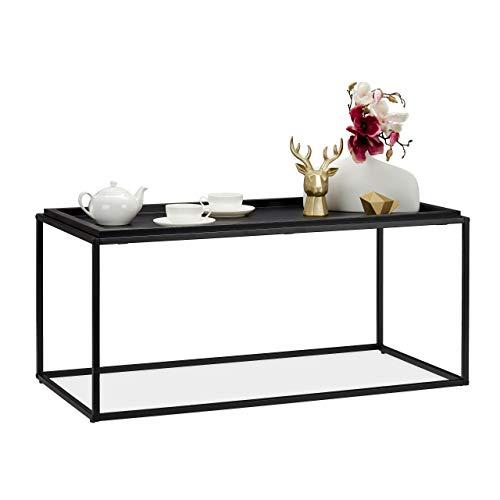 Relaxdays salontafel met grote plank, modern design, salontafel, metaal & MDF, H x B x D: 45,5 x 100 x 50 cm, zwart, metaal, MDF-platen