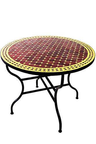 ORIGINAL Marokkanischer Mosaiktisch Gartentisch ø 100cm Groß rund klappbar | Runder klappbarer Mosaik Esstisch Mediterran | als Klapptisch für Balkon oder Garten | Marrakesch Bordeaux Gelb 100cm