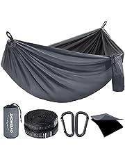 Overmont Dubbele Lagen Camping Hangmat Duitse TUV Certificated Draagbare Outdoor Hangmat Lichtgewicht voor Backpacken Wandelen Sport Reizen met Boomriemen