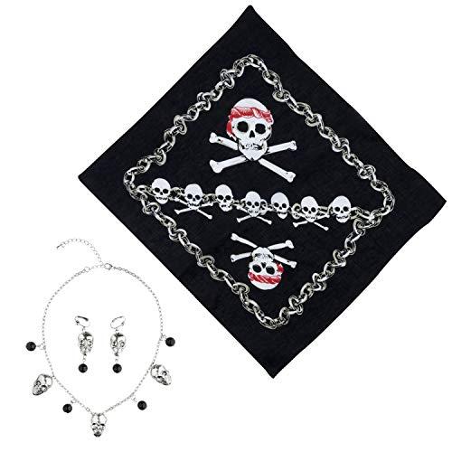 COM-FOUR® 4-delige accessoireset voor piratenkostuums - ideaal voor carnavals, themafeesten en kostuumevenementen (4 delen)