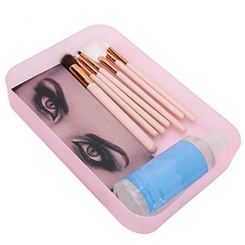 Soporte organizador de maquillaje Contenedor de maquillaje higiénico Caja de almacenamiento de arte de uñas para el hogar para herramientas de uñas Pinceles de maquillaje(rosado)