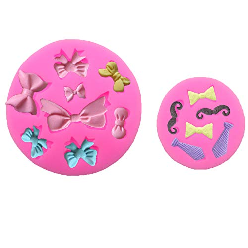 LQQDD Set of 2 Tiny Size Bow Tie Necktie Mustache Silicone Mold for Fondant Sugar Craft Mold Chocolate Candy Craft Cake Decorating Cupcake Topper