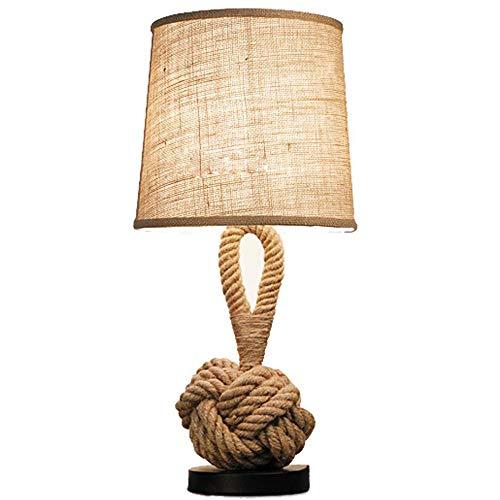 LICIDI Cáñamo Cuerda Retro Mesa lámpara Creativa Dormitorio lámpara de Noche Moderna Minimalista Moda Mesa lámpara de Mesa lámpara de Aprendizaje decoración pequeña lámpara de Mesa (60 * 28cm)
