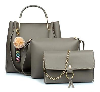 Mammon Women's Stylish Handbags Combo (3LR-Tie-grey)