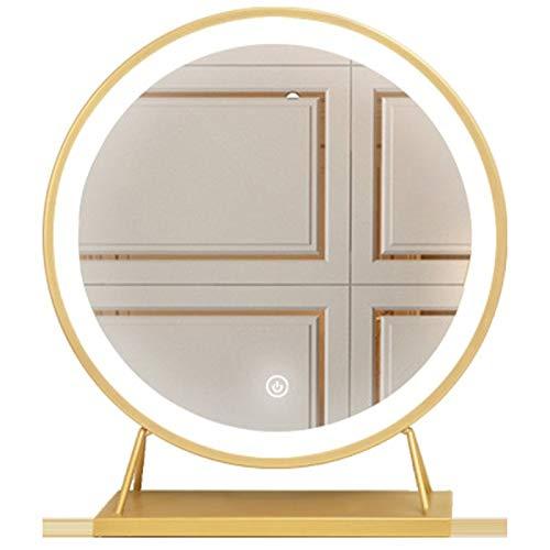 Jianghuayunchuanri Modalità di illuminazione Vanity Specchio Grande Trucco Specchio Da Tavolo Led con Luce Integrata Specchio Trucco Casa Stand Cosmetici (Colore: Oro, Dimensioni: 35X30X15cm)