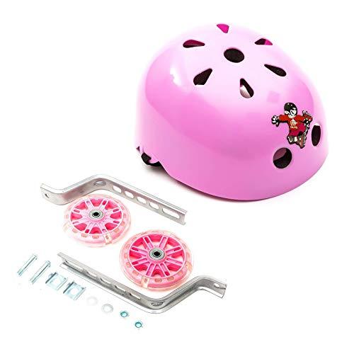 Estabilizador LED intermitente para bicicleta para niños 12-20, color rosa y casco