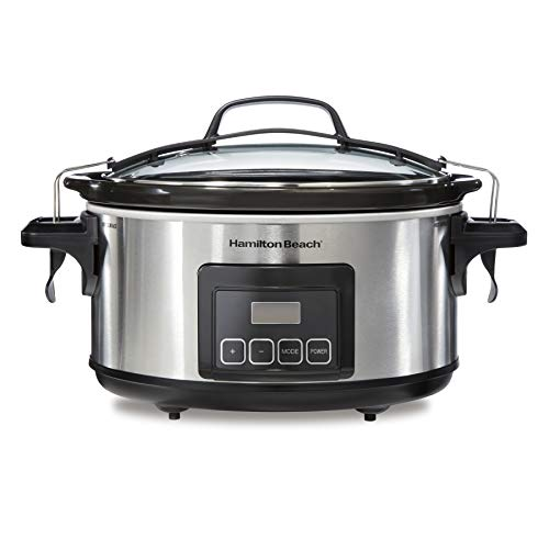 Hamilton Beach Portable 6-Quart Stay or Go Programmable Slow Cooker with Lid Lock, Stainless Steel (33561)