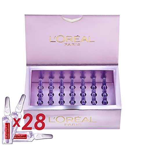 L Oréal Paris Ampollas Rellenadoras Antiedad con Ácido Hialurónico Puro y Vitamina B5 Revitalift Filler, Hidratación intensa, Caja 28 unidades monodosis, 1.3 ml