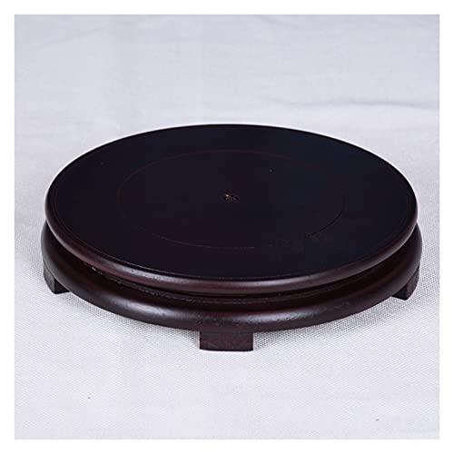 Base de la tetera de la lámpara de mesa del acuari Pantalla de pedestal redonda de la base de la caja de madera Soporte de la pantalla para los adornos de piedra impares de Flowerpot Base de madera 1.