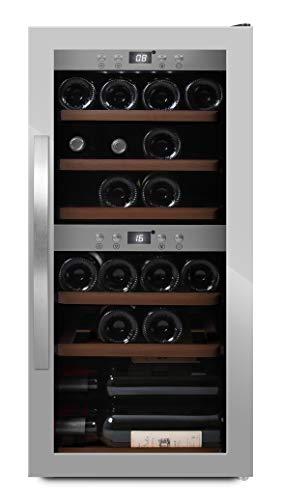 mQuvee Weinkühlschrank Freistehend WineExpert 24 Stainless, Platz für bis zu 24 Flaschen, 2 Temperaturzonen 5-20°C, Höhe 88 cm