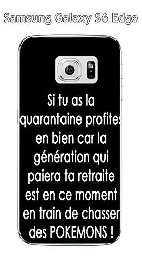 Cover per Samsung Galaxy S6 Edge, motivo: citazione Pokemons testo, colore: bianco su sfondo nero