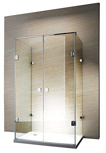 Bernstein Badshop Duschkabine U-Form 8 mm ESG-Glas Nano Echtglas-Dusche EX412-120 x 90 x 195 cm - Duschabtrennung mit Duschtasse