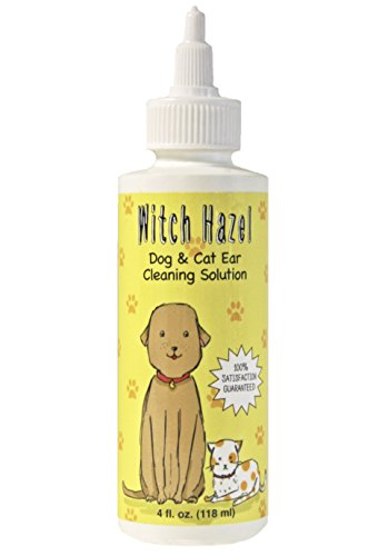 Immediate, Natural Relief with Witch Hazel Dog and Cat Ear Cleaner. Quickly Heals Pet Ear Infections in 3-5 Days. 4 oz. Easy, 1-Step
