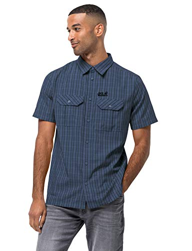 Jack Wolfskin Herren Thompson Shirt Men Schnelltrocknendes Outdoor Hemd Kurzarm, Ocean Wave Checks, XXL