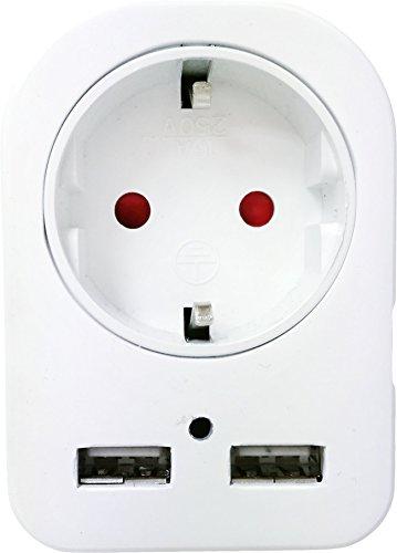 Garza Power - Adaptador de 1 toma Schuko + 2 Conexiones USB, protección Infantil, color Blanco