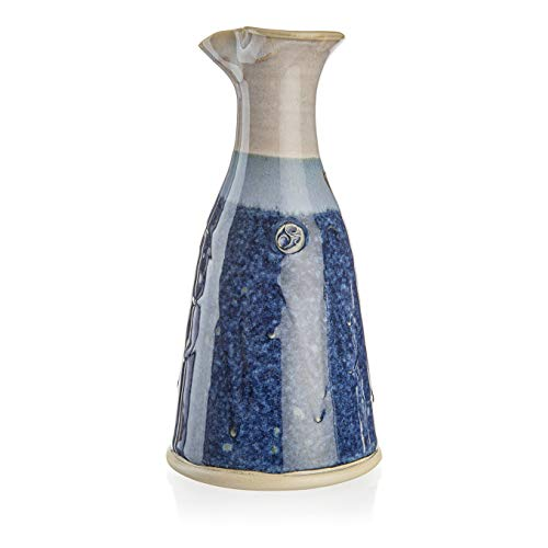 Castle Arch Pottery Wine Jug Thrown by Hand in Ireland. Original 600ml Volume- 8 Inches Height with Celtic Spiral Symbol(Blue)