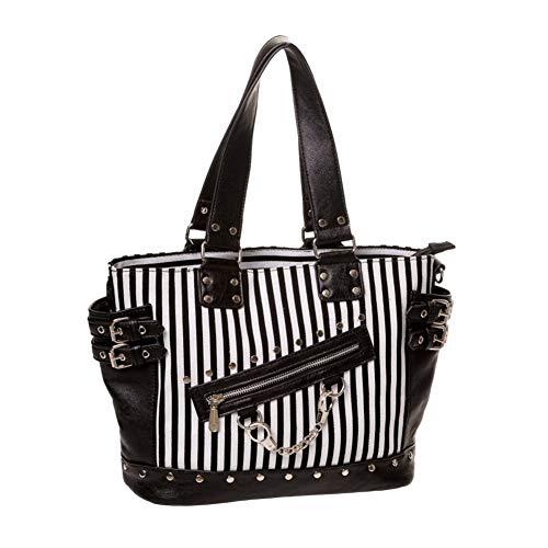 Banned Schwarz Weiß Gestreifte Handtasche mit Handschellen Umhängetasche Vintage Rockabilly Schultertasche Shopper Punk Gotik Handtasche Schwarz Tasche