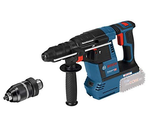 Bosch Professional 18V System Akku Bohrhammer GBH 18V-26 (SDS Plus, Schnellwechselbohrfutter, Schlagenergie: 2,6 Joule, Bohr-Ø max.: Beton/Stahl/Holz 26/13/30 mm, ohne Akkus und Ladegerät, im Karton)