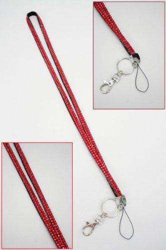 Hot Cherry Red Bling Rhinestone Crystal Lanyard Id Badge Key Card Holder