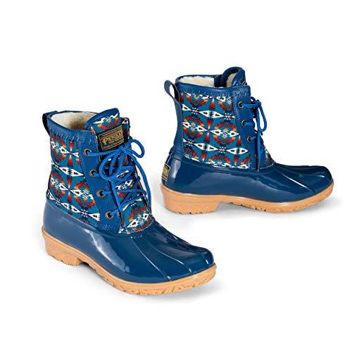 Pendleton Women's Heritage Pattern Slip-Resistant Lace-Up Short Duck Boot, Tucson Print Navy, Size 5