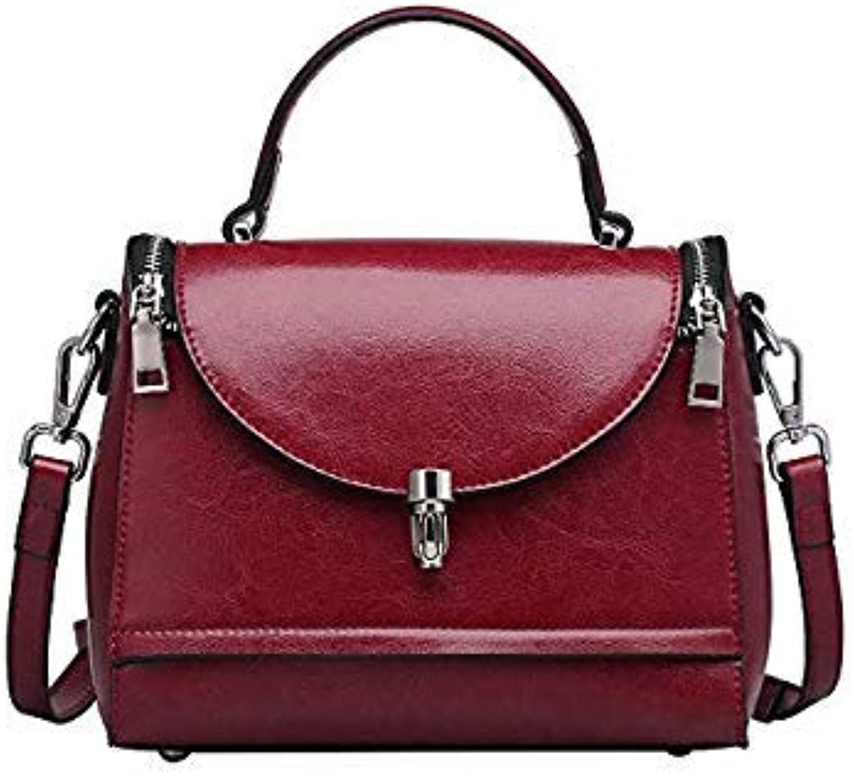 Bloomerang ZENCY Fashion Small Genuine Leather Women Female Luxury Famous Brands Handbag Woman Girl Tote Shoulder Messenger Bag color Dark Red 22x18x10cm