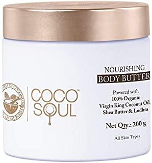 Coco Soul Ayurvedic & Coconut Body Butter - 6.76 fl.oz. (200g) - Shea Butter & Lodhara, Virgin King Coconut, Sulphate Free...
