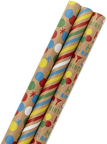 Hallmark All Occasion Kraft Wrapping Paper Bundle Birthday Stripes Dots with Kraft on Reverse product image