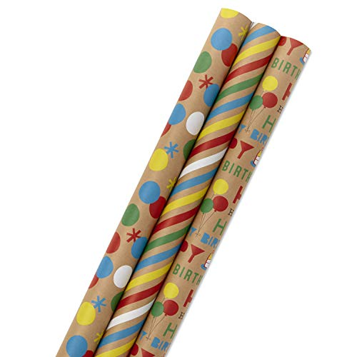 Hallmark All Occasion Kraft Wrapping Paper Bundle: Birthday, Stripes, Dots with Kraft on Reverse (3-Pack: 105 sq. ft. ttl.) for Parties, Kids Crafts, DIY Decorations, Care Packages or Any Occasion