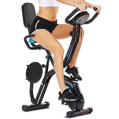 ANCHEER Heimtrainer Fahrrad Klappbar,Hometrainer-Fahrrad mit Ergometer,F-Bike Klappbar Fahrrad Trainingsgerät für Zuhause Magnetwiderstand