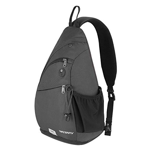 Waterfly Sling Backpack, Chest Bag Shoulder Crossbody Bag Triangle Backpack for Men Women Outdoor Travelling Cycling Hiking Running (Gray-2)
