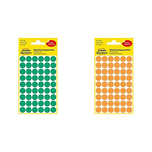 AVERY Zweckform 3143 selbstklebende Markierungspunkte & 3148 selbstklebende Markierungspunkte (Ø 12 mm, 270 Klebepunkte auf 5 Bogen, runde Aufkleber für Kalender, Planer und zum Basteln) neonorange