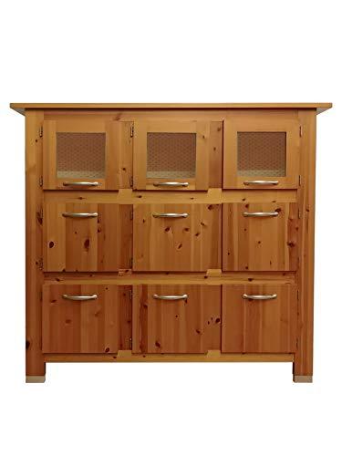 Silvam - Aparador con 9 puertas de cristal moderno para cocina, salón, madera maciza