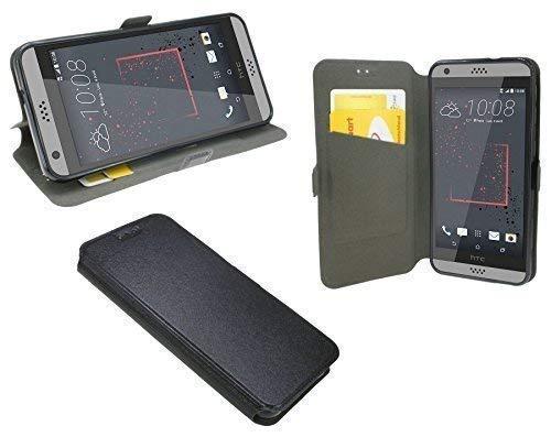 ENERGMiX Buchtasche kompatibel mit HTC Desire 530 Hülle Case Tasche Wallet BookStyle mit Standfunktion in Schwarz