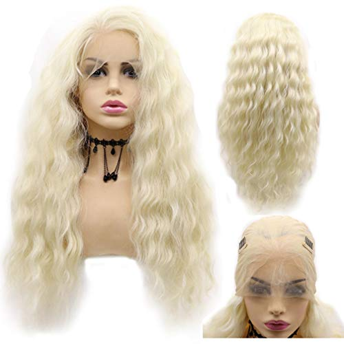 360 Synthetic Full Lace Wigs for Black and White Women, Platinum Blonde Long Curly Wavy 360 Full Lace Front Wigs with Baby Hair Free Part 150% Density for Women Daily Wear or Cosplay (24inch/60cm)