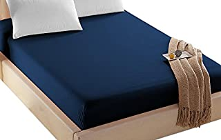 4U LIFE Bedding Fitted Sheet-Prime 1800 Series, Double Brushed Microfiber,Ultra-Soft Feel and Wrinkle,Fade Free, Deep Pocket for Oversized Mattress,Twin, Navy