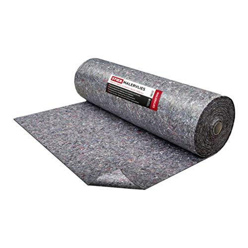 STIER Malervlies, Gewicht 260 g/m², Länge 25 m, Abdeckvlies, Schutzvlies, Premium Oberflächenschutz Vlies grau, PE Anti Rutsch Beschichtung