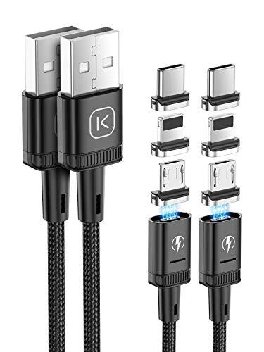 Kuulaa Cavo di ricarica magnetico 3-in-1, cavi per caricabatterie per telefono a ricarica rapida 3A Cavo magnetico con luce a led per micro USB, dispositivi e prodotti di tipo C (2 pezzi 1m, nero)