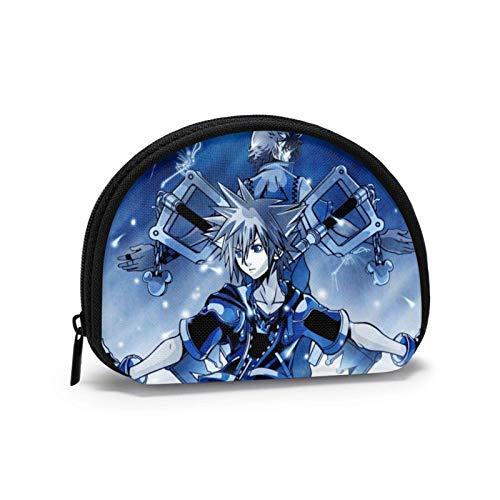 Kingdom Hearts Shell Bolsa de almacenamiento para mujeres y niñas linda moda con cremallera monedero monedero bolsa de cambio multifunción bolsa organizador