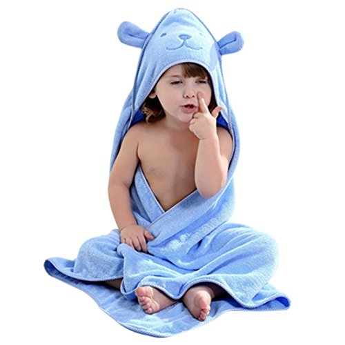 Price comparison product image Baby Hooded Toddler Towel with Bear Ear- Soft and Thick 100% Cotton Bath Set for Kids Girls Boys Infant and Toddler,  Good Choice (Blue)