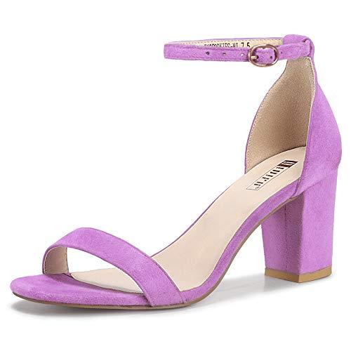 IDIFU Cookie-MI Block Heels 3 Inch Sandals Chunky Open Toe Heel Wedding Homecoming Dress Shoes For Women Brides Ladies (Lavender Suede, 10 B(M) US)